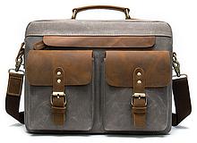 Сумка-портфель мужская текстильная с кожаными вставками Vintage 20001 Cерая