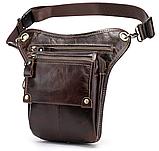 Сумка-барсетка на пояс чоловіча шкіряна Vintage 20013 коричнева, фото 4
