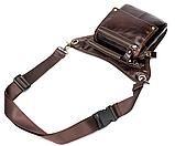Сумка-барсетка на пояс чоловіча шкіряна Vintage 20013 коричнева, фото 7
