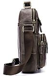 Сумка мужская вертикальная кожаная Vintage 20028 Серая, фото 4