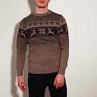 Свитер с оленями мужской зимний, коричневый, фото 1