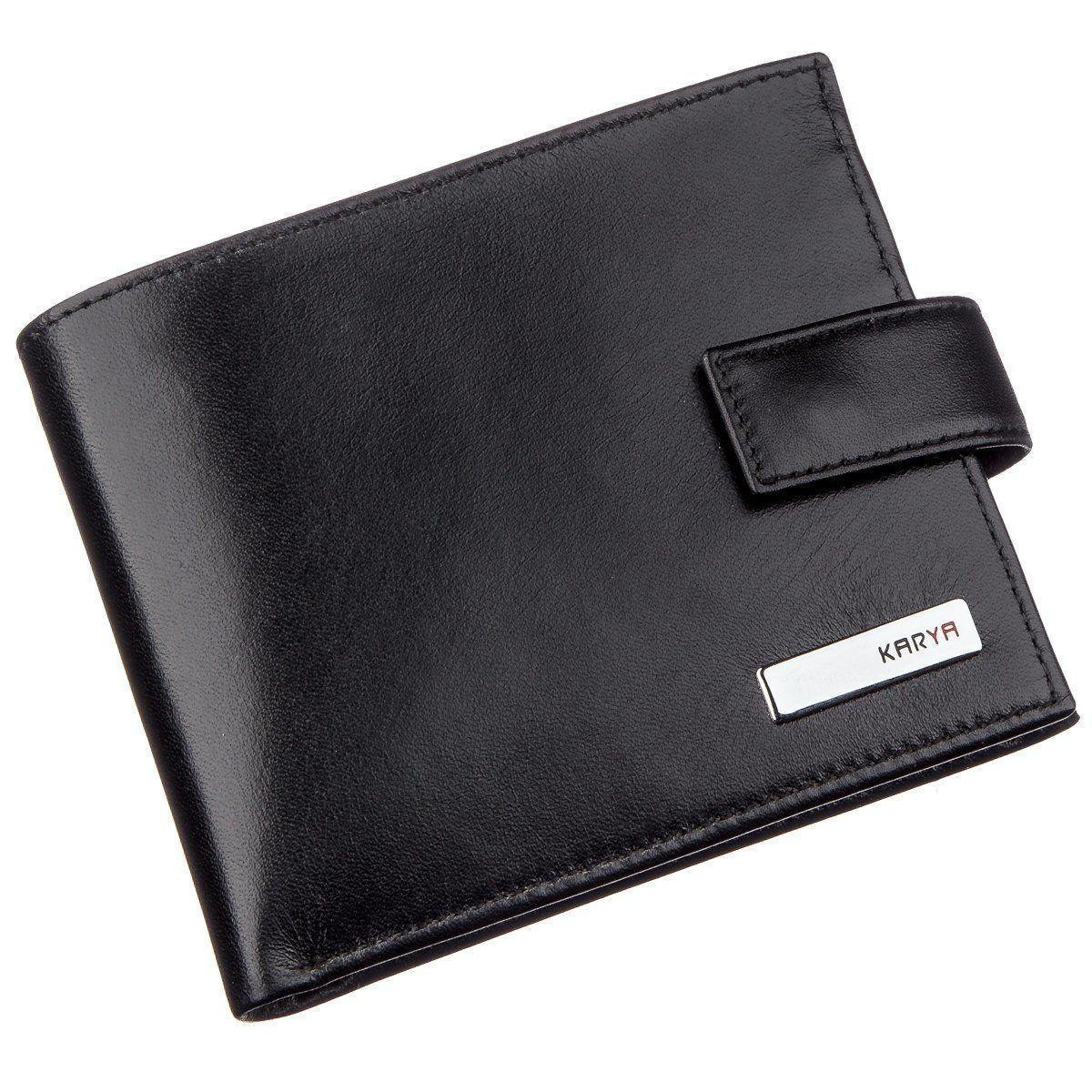Чоловіче портмоне в гладкій шкірі з хлястиком KARYA 17375 Чорне, Чорний