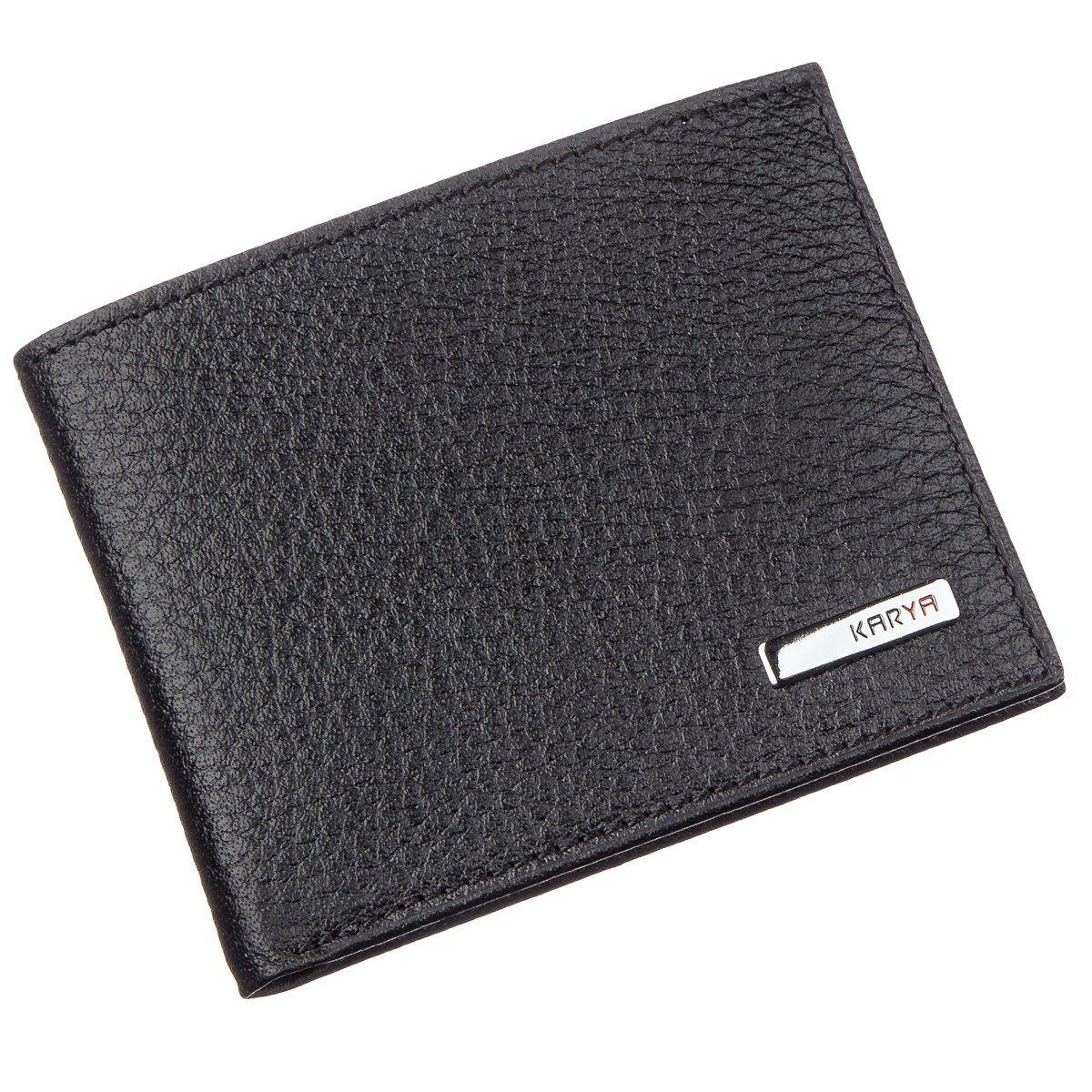 Тонкий мужской бумажник кожа флотар KARYA 17381 Черный