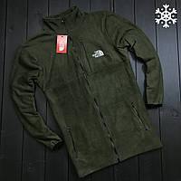 Телпая кофта мужская из флиса ТНФ/The north face, зеленая
