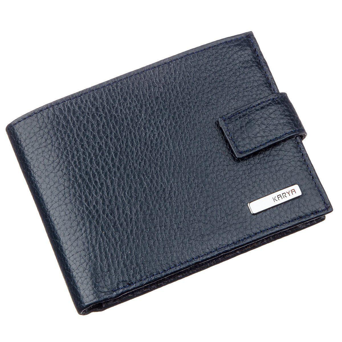 Чоловічий гаманець з хлястиком шкіряний флотар KARYA 17369 синій