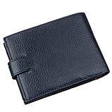 Чоловічий гаманець з хлястиком шкіряний флотар KARYA 17369 синій, фото 2