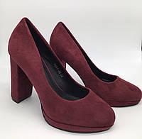 Туфлі жіночі замшеві бордові