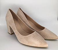 Туфлі жіночі замшеві бежеві