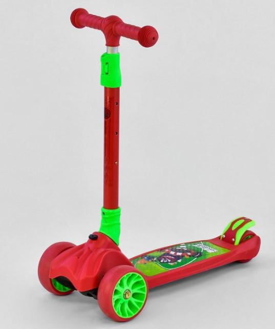 Самокат трехколесный детский складной руль светящиеся колеса красный Best Scooter F-18990