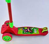 Самокат трехколесный детский складной руль светящиеся колеса красный Best Scooter F-18990, фото 3
