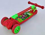 Самокат трехколесный детский складной руль светящиеся колеса красный Best Scooter F-18990, фото 4