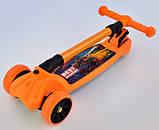 Самокат трехколесный детский складной руль светящиеся колеса оранжевый Best Scooter F-16770, фото 4
