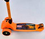 Самокат трехколесный детский складной руль светящиеся колеса оранжевый Best Scooter F-16770, фото 3