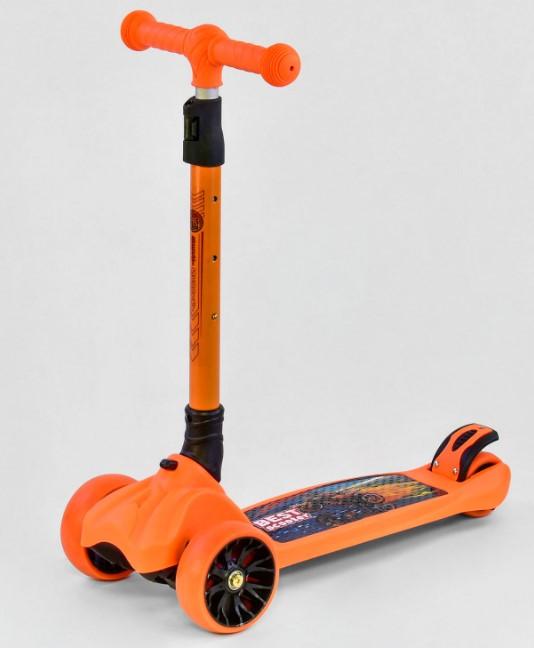 Самокат трехколесный детский складной руль светящиеся колеса оранжевый Best Scooter F-16770