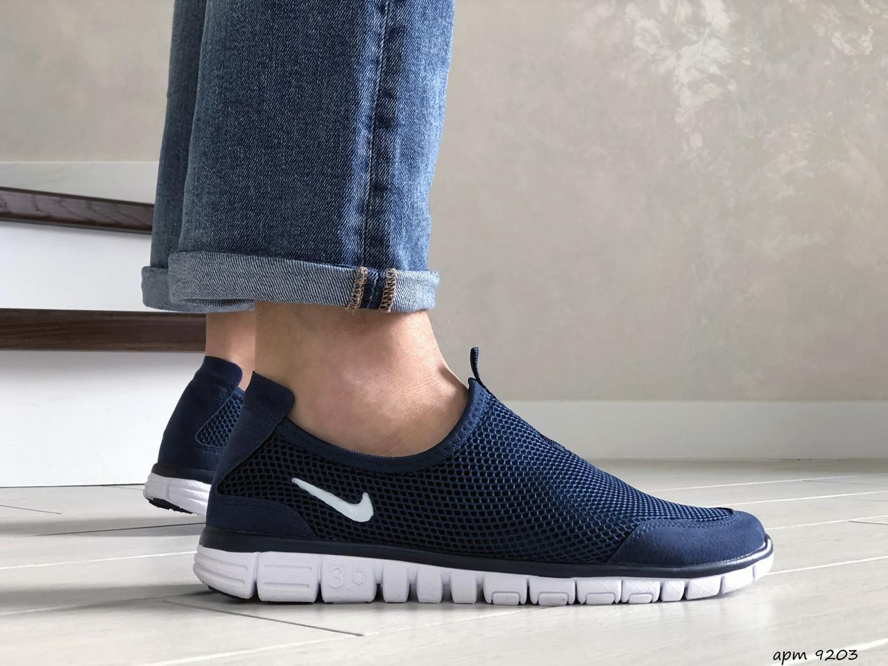 Летние кроссовки Nike Free Run 3.0,сетка,темно синие с белым