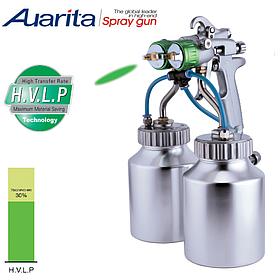 Краскопульт пневматический тип HVLP (2 нижних металлических бачка, 2 форсунки) 1,3 мм  AUARITA PT-29B-1.3