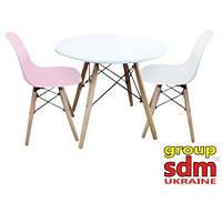 Журнальный/ детский стол Кипр белый круглый на буковых ножках от SDM Group