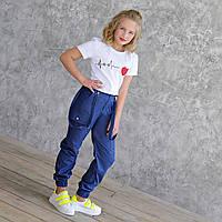 Синие брюки джоггеры джинсовый коттон на девочку рост 140-176
