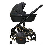 Детская универсальная коляска 2в1 Mikrus Comodo Gold 28 (Черная кожа)