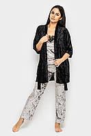 Домашняя велюровая пижама с брюками и халат-набор одежды для дома.