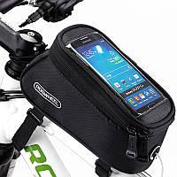 """Велосипедная сумка Roswheel 6"""" велосумка для смартфона на раму L Black"""