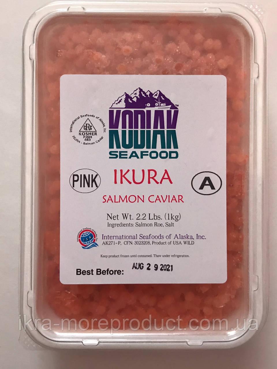 Красная лососевая икра горбуши шоковой заморозки ТМ Kodiak - Кодиак (сорт 1 ) нерест 2019 1 кг