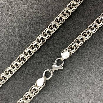 Серебряная цепочка на шею 925 пробы мужская, женская, плетение Бисмарк, длина 55 см