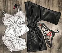 Черно-белый комплект тройка для сна и отдыха халат и пижама майка+шорты.