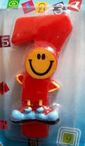 Свеча-цифра 7 красная Смайл