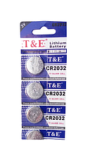 Литиевая батарейка-таблетка T&E CR2032 3V