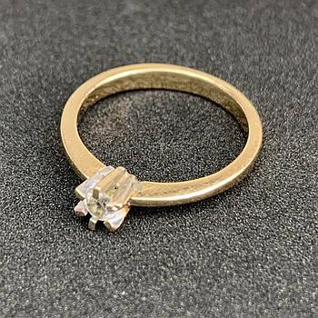 Золотое кольцо с фианитом 583 пробы, вес 2.58 г. Золото бу в Украине