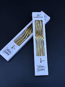 Свечи в торт витые Золото. 6 шт. в упаковке