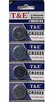 Літієва батарейка-таблетка T&E CR2025 3V