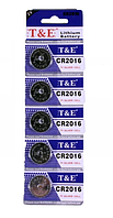 Літієва батарейка-таблетка T&E CR2016 3V
