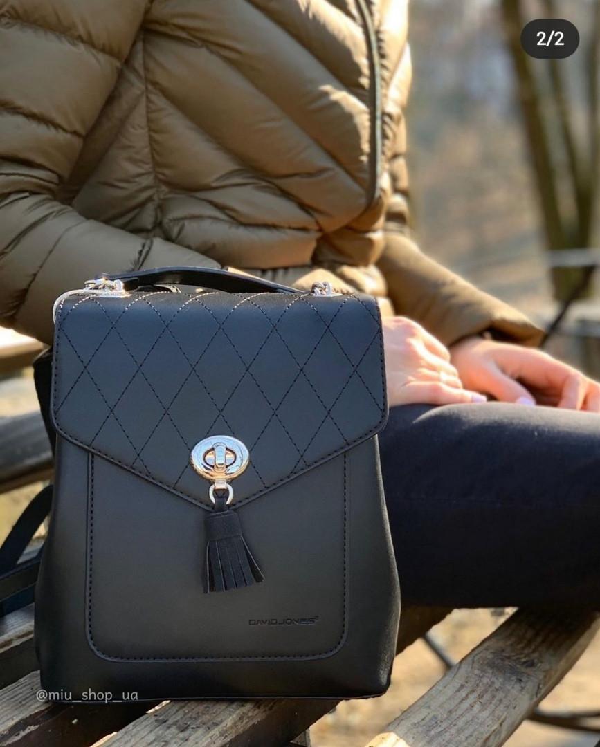 Стильний міський жіночий рюкзак David Jones, чорний / жіночий рюкзак