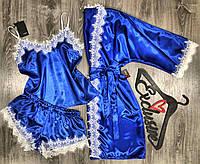 Синий атласный комплект с белым кружевом халат+пижама майка и шорты.