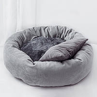 Лежак для котов собак круглый с двусторонней подушкой бархатный