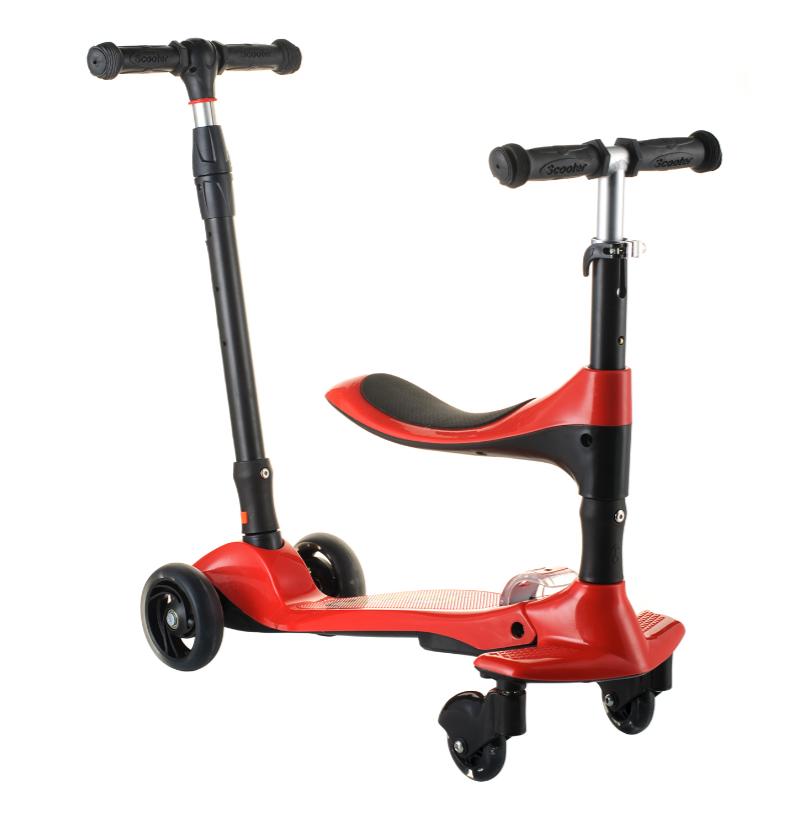 Детский самокат 16-1 колёса PU светятся сиденье родительская ручка цвет красный