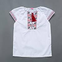 Вышиванка для девочки р.122,128,134,140,146 с коротким рукавом SmileTime Ethnic, красный узор