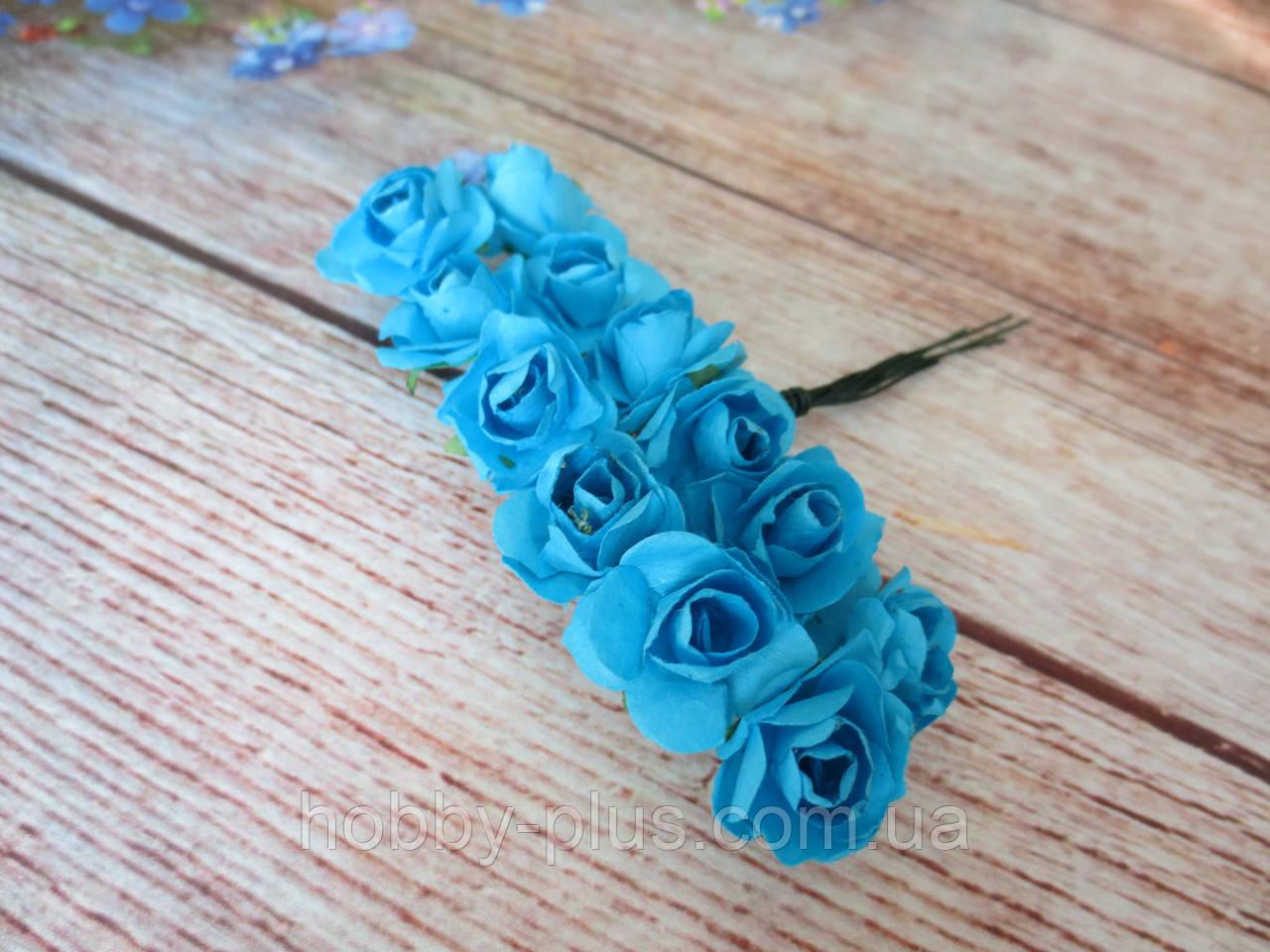Роза бумажная, d 1,5 см, цвет БИРЮЗОВЫЙ, 12 шт/упаковка