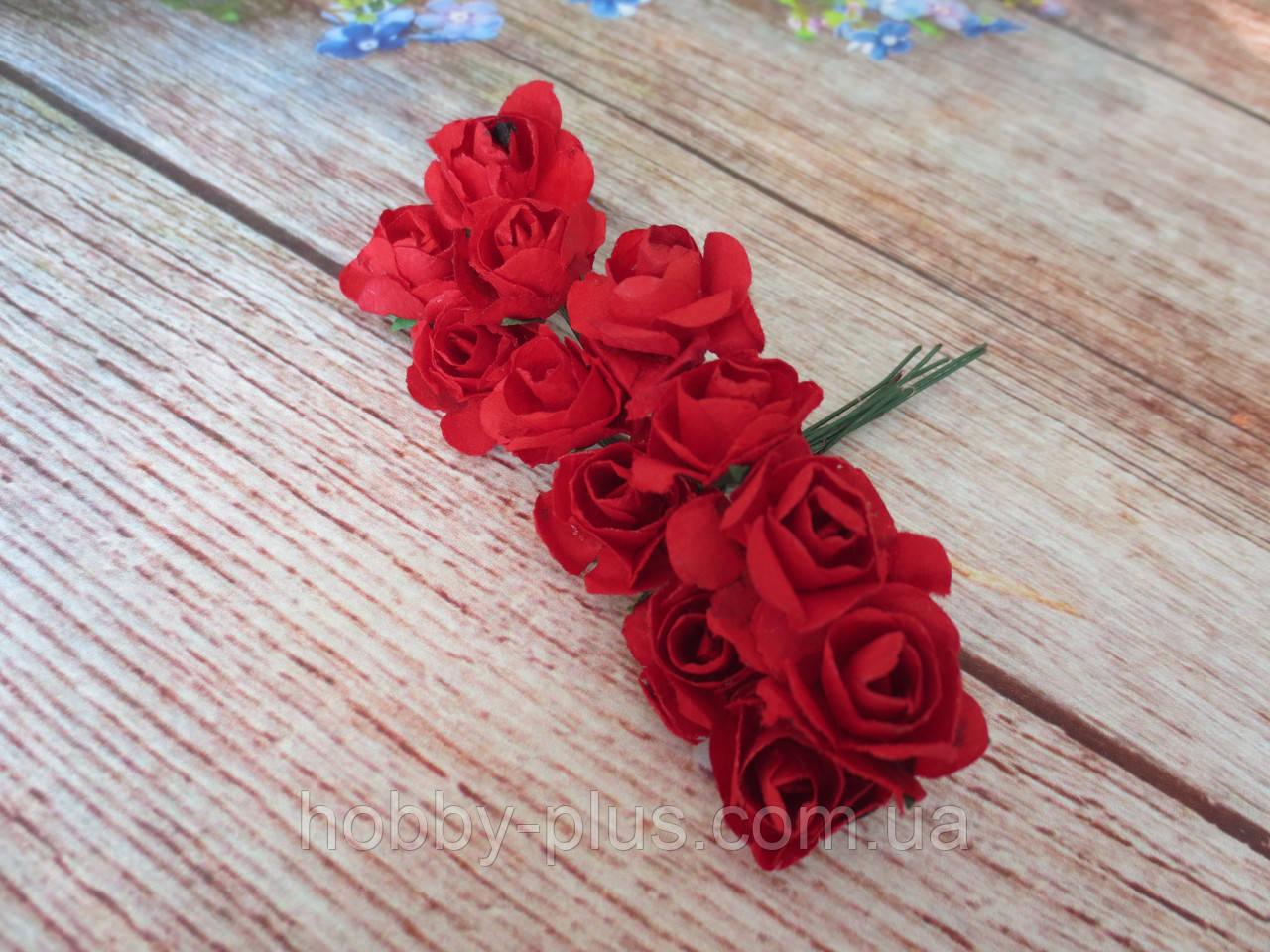 Роза бумажная, d 1,5 см, цвет КРАСНЫЙ, 12 шт/упаковка