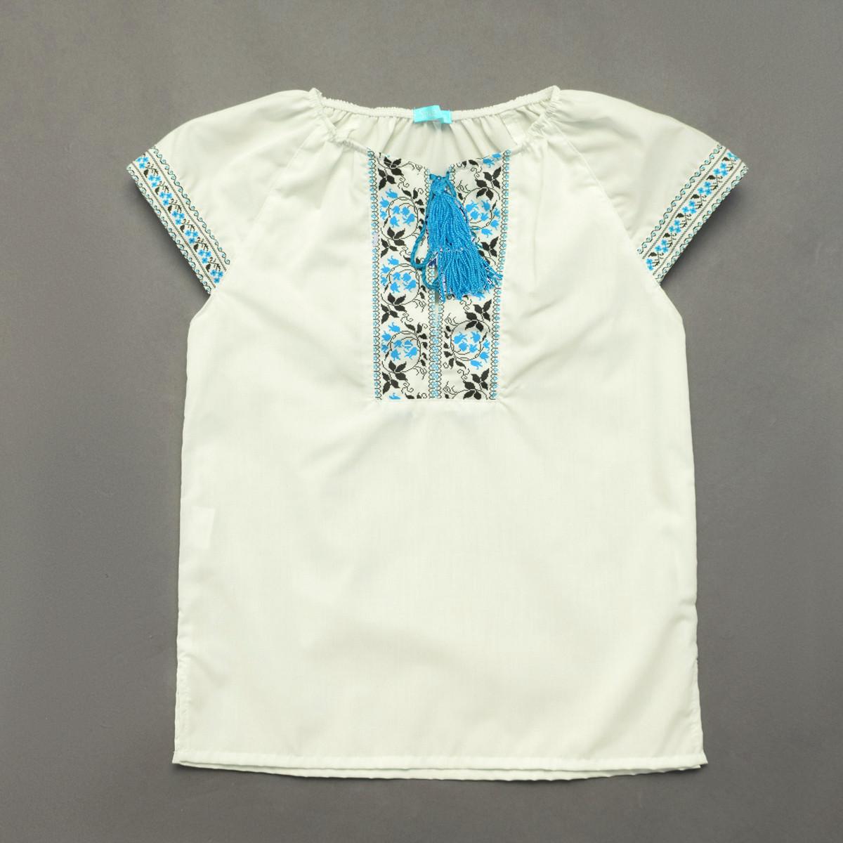 Вышиванка для девочки SmileTime Ethnic, голубой узор