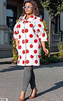 Кардиган-пальто женский весна-осень неопрен 48-54 р.,цвет красный/белый