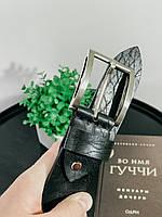 Кожаный ремень чёрный цвет пряжка никелированная. Мужской. Ширина 4см. Премиум класс