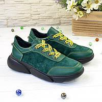 Кроссовки женские зеленые на шнуровке, натуральная кожа и замша. 37 размер