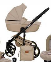 Детская универсальная коляска 2в1 Mikrus Comodo Zlota 15 (Бежевая экокожа)