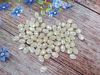 Бусины хрустальные (капля), 7х5 мм, 30-35 шт, цвет жемчужный (полупрозрачный с АВ напылением)
