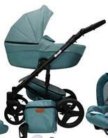 Детская универсальная коляска 2в1 Mikrus Comodo Zlota 11 (Бирюзовая экокожа)