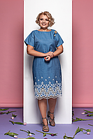 Летнее платье прямого силуэта  из хлопка с вышивкой ришелье Style-nika Аден.