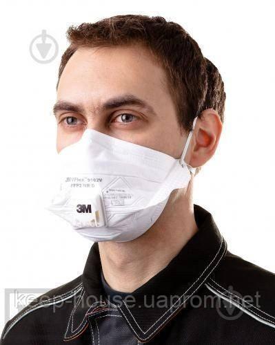 Захисний респіратор - маска для обличчя 3M VFlex 9162Е FFP2 з клапаном. Безкоштовна доставка при замовленні упаковці
